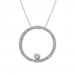 0.65 Carat Round Cut Diamond Eternity Circle Pendant 14K White Gold