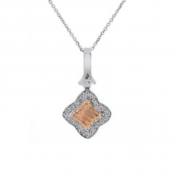 0.50 Carat Round Diamond Clover Pendant on Cable Link 14K Two Tone Gold