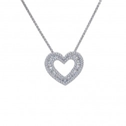 1.00 Carat Round & Baguette Cut Diamond Heart Pendant on Spiga Link Chain 14K White Gold