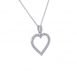 0.50 Carat Round Cut Diamond Heart Pendant on Cable Link Chain 14K White Gold