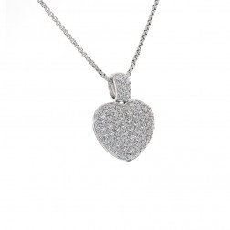2.00 Carat Pave Set Round Diamond Heart Pendant on Rolo Link Chain 14K White Gold