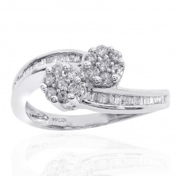 0.60 Carat Round Cut Baguette Diamond Floral Ring 14K White Gold