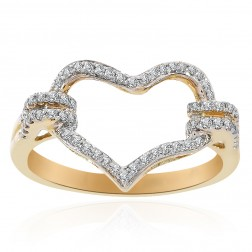 0.30 Carat Round Cut Diamond Heart Ring 14K Yellow Gold