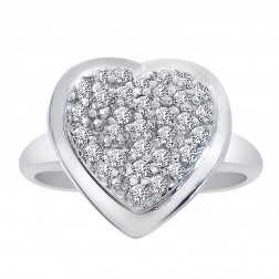 0.50 Carat Round Cut Diamond Heart Cluster Ring 14K Yellow Gold