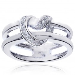 0.15 Carat Round Cut Diamond Crisscross Heart Ring 14K White Gold