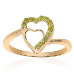 0.15 Carat Round Cut Yellow Diamond Heart Ring 14K Yellow Gold