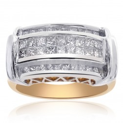 1.00 Carat Princess Cut Invisible Setting Ring 14K Two Tone Gold