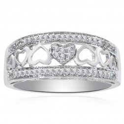 0.25 Carat Round Cut Diamond Heart Cut-Out Ring 14K White Gold
