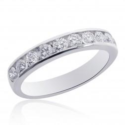14K White Gold Round Brilliant Cut Diamond Wedding Band 0.75ctw