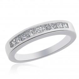 0.75 Carat Princess Cut Diamond Wedding Ring 14K White Gold