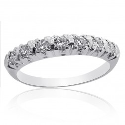 0.55 Carat Round Brilliant Cut Diamond Wedding Band in Platinum