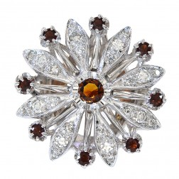 0.45 Carat Garnet & 0.50 Carat Diamond Vintage Flower Ring 14K White Gold