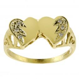 0.05 Carat Round Cut Diamond Heart Ring 14K Yellow Gold