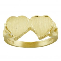 Double Hearts Ladies Ring 14K Yellow Gold