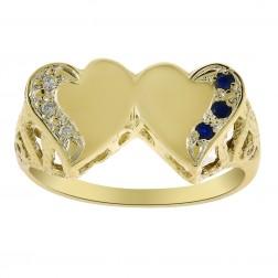 0.03 Carat Diamond & 0.03 Carat Sapphire Double Heart Ring 14K Yellow Gold