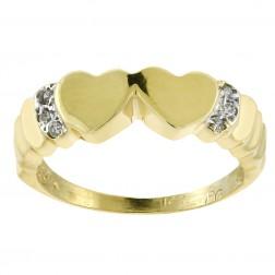 0.05 Carat Double Heart Diamond Ring 14K Yellow Gold