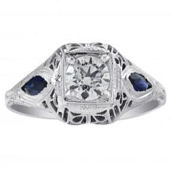 0.47 Carat Diamond & 0.25 Carat Sapphire Antique Ring 14K White Gold