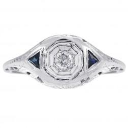 0.12 Carat Diamond & 0.15 Carat Sapphire Antique Ring 18K White Gold