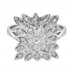 0.33 Carat Diamond Vintage Flower Ring 14K White Gold