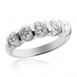 1.45 Carat Round Brilliant 5 Stone Diamond Wedding Ring Platinum