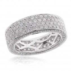 3.00 tcw Pave Round Cut Diamond Eternity Wedding Band in 14K White Gold