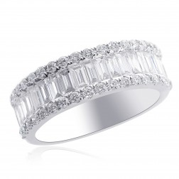1.50 Carat Round & Baguette Cut Diamond Wedding Band in 14K White Gold