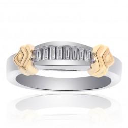 0.50 Carat Princess Cut Diamond Wedding Band 14K Two Tone Gold