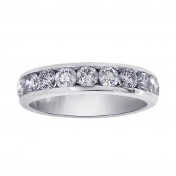 1.50 Carat Round Diamond Mens Wedding Band 14K White Gold