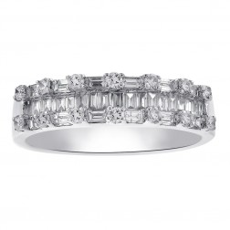 1.00 Carat Baguette and Round Cut Diamond Wedding Eternity Band in 14K White Gold