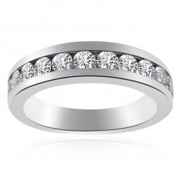 1.25 Carat Round Cut Diamond Womens Wedding Band 14K White Gold