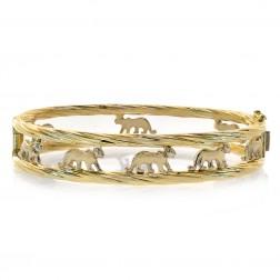 Walking Panther Cat Bangle Bracelet 14K Yellow Gold