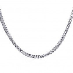 "Mens 10K White Gold 29"" inches Hollow Franco Link Necklace Chain 32.7 grams"