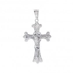 14K White Gold Diamond Cut Fleur de Lis Crucifix Pendant