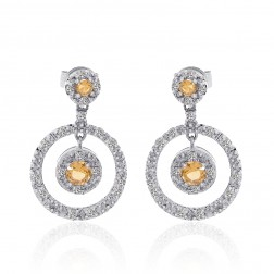 0.90 Carat Yellow Sapphire & Diamond Cluster Circle Drop Earring 14K White Gold