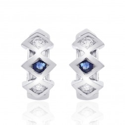 0.15 Carat Diamond & Sapphire Huggy Earrings 14K White Gold