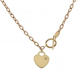 2.72mm 14K Yellow Gold Bullet Chain with 14K Yellow Gold Heart Pendant