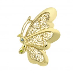 14K Yellow Gold Multicolor Gemstone Butterfly Vintage Brooch Pin