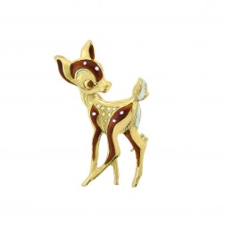 18K Yellow Gold Fawn Bambi Enamel Deer FABOR Vintage Brooch Pin