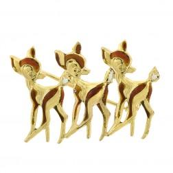 18K Yellow Gold Bambi Enamel Deer Vintage FABOR Brooch Pin