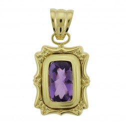 3.50 Carat Cushion Cut Amethyst Vintage Pendant Made In Italy 14K Yellow Gold