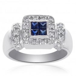 0.55 Carat Sapphire & Round Diamond Cocktail Ring 14K White Gold