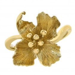 14K Yellow Gold Flower Style Ring Size 6.50