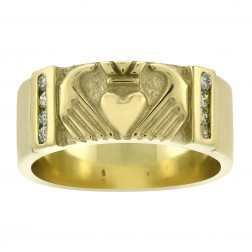 10K Yellow Gold Claddagh Ring with 0.08Ct Diamond Accents