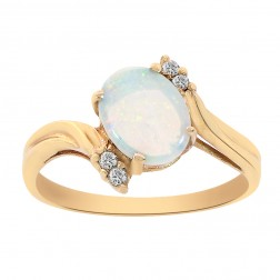 0.90 Carat Oval Opal and Round Cut Diamonds Ring 14K Yellow Gold