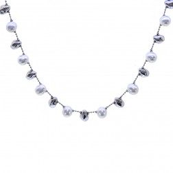 8mm Pearl Necklace Made In Italy 14K White Gold