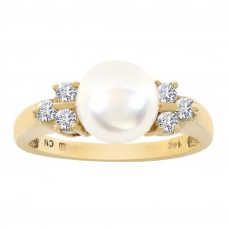 7.7mm Cultured Pearl and Round Diamond Ring 14K Yellow Gold