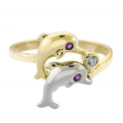 14K Two Tone Gold Vintage Cubic Zirconia Dolphin Ring Size 8.00