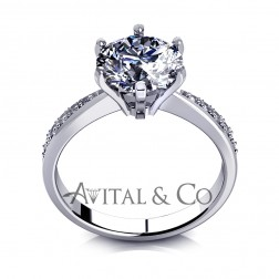 1.50 carat Round Cut Simulated Diamond Engagement Ring 14K White Gold