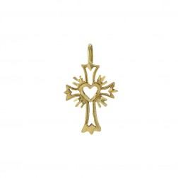 14K Yellow Gold Sacred Heart Cross Pendant