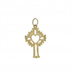 14K Yellow Gold Art Deco Sacred Heart Cross Pendant